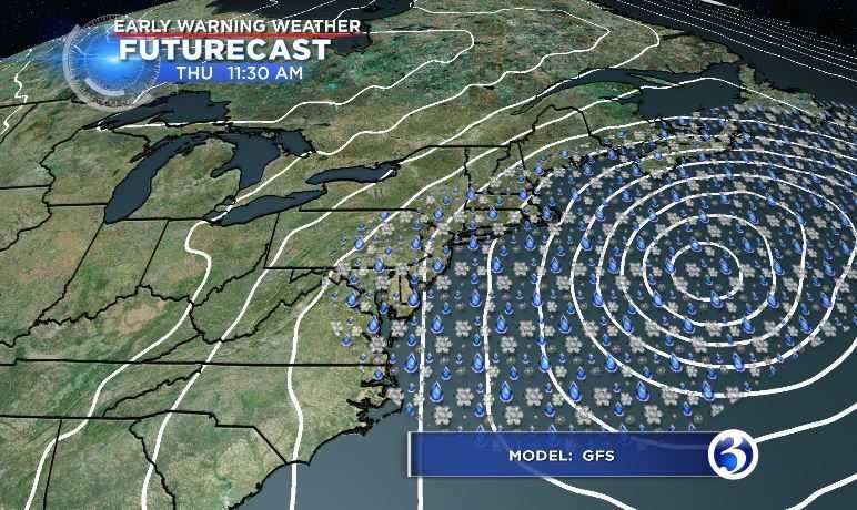 GFS model for Thursday at 11:30 am (WFSB)