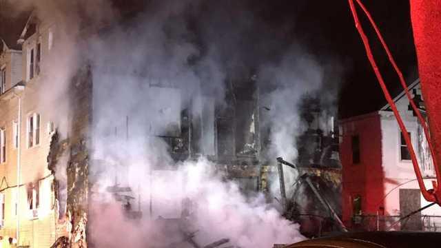 Crews battle a fire on Charlotte Street in Hartford (WFSB)