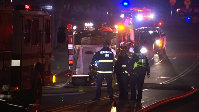 Crews were called to battle a house fire in New Britain on Sunday evening. (WFSB)