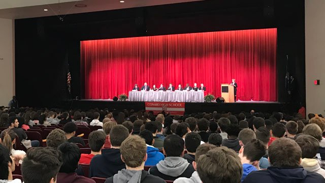 Sens. Richard Blumenthal and Chris Murphy answered student questions about gun violence proposals at Conard High School in West Hartford on Monday. (WFSB)