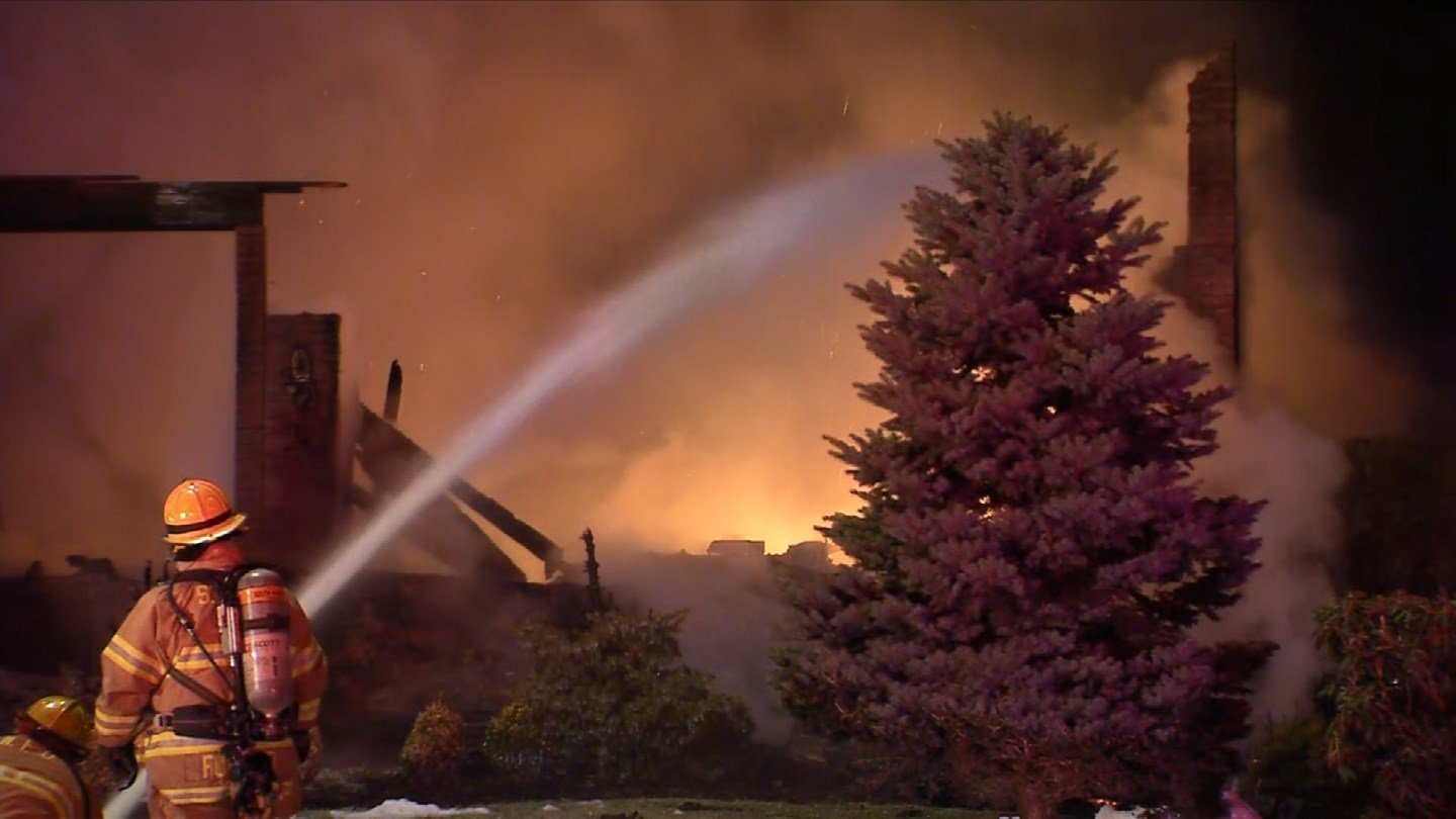 A fire destroyed a home on Cliffwood Drive in South Windsor on Tuesday morning. (WFSB)