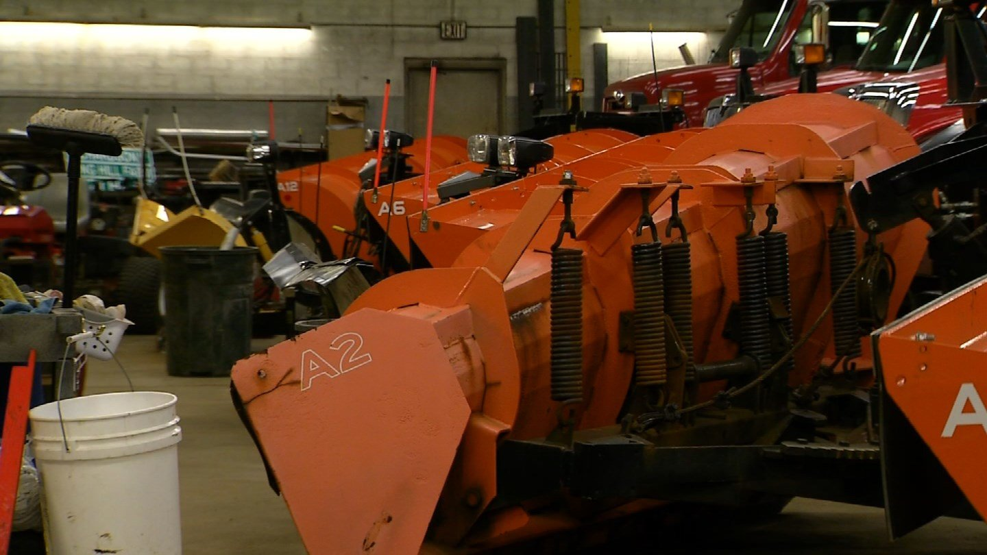 Suffield crews inspect their plows before every storm. (WFSB)
