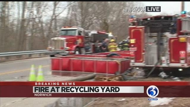Video: Norwich officials give update on huge fire at auto yard
