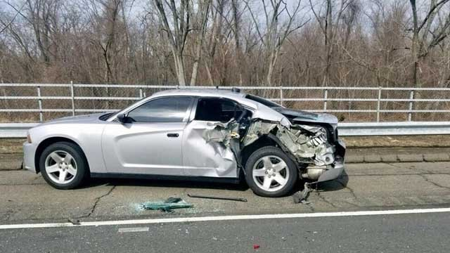 A tractor trailer hit a police cruiser in South Windsor on Thursday (CT State Police)