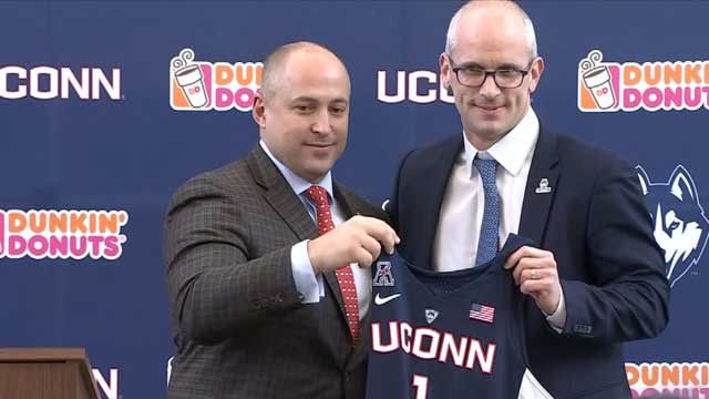 Dan Hurley was officially introduced as UConn's new men's basketball coach on Friday (WFSB)