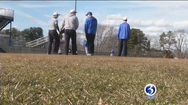 Plainville High School's baseball team has had little outside practice time thanks to the weather. (WFSB)