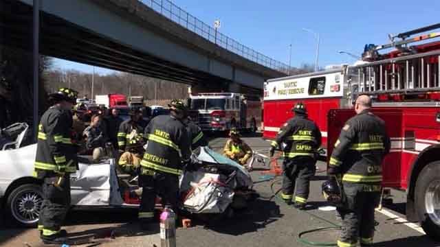 A driver was taken to the hospital following a crash on Route 2 on Monday (Yantic Fire Engine Company #1)