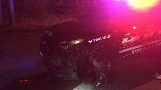 Two juveniles were arrested after they slammed a stolen vehicle into a police cruiser in Branford, police said. (@Cpt_G_Morgan)