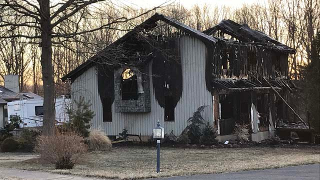 A house on Sun Meadow Drive in Berlin was severely damaged by fire. (WFSB)