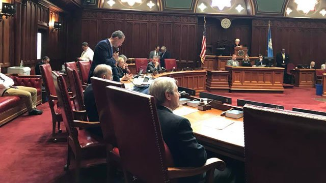Senators debate on Tuesday the nomination of Andrew McDonald for chief justice of the Connecticut Supreme Court. (WFSB)