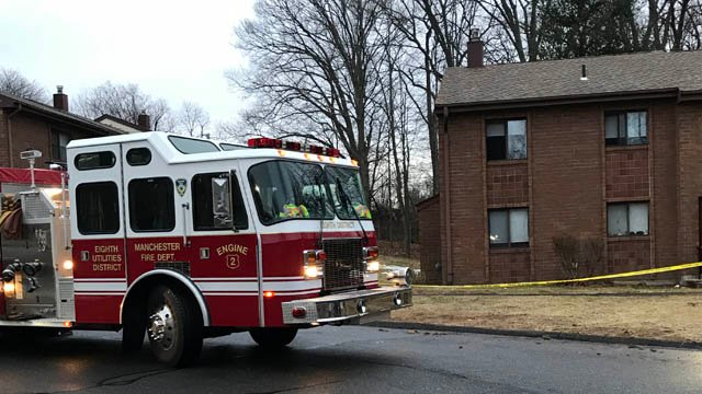 A fire and stabbing were reported at an apartment complex in Manchester on Wednesday morning. (WFSB)