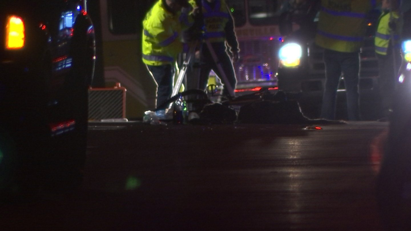 A bicyclist was in serious condition on Tuesday night after being struck by a car on Route 177 in Farmington. (WFSB)
