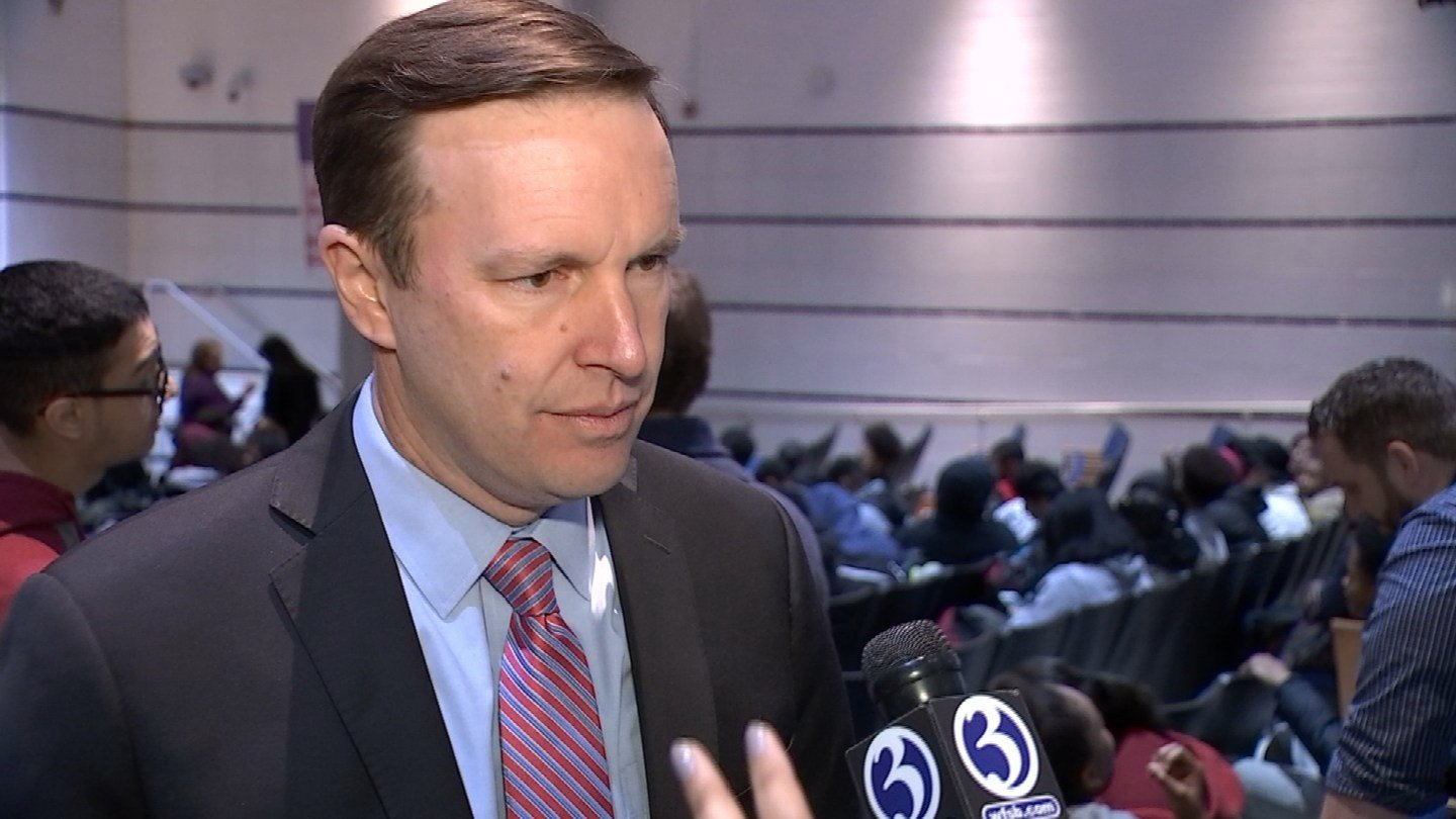 Sen. Chris Murphy spoke to students at Hillhouse High School in New Haven about ways to curb gun violence. (WFSB)
