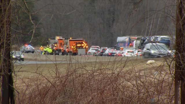 A state trooper was seriously injured in a crash on I-84 in Tolland on Thursday (WFSB)