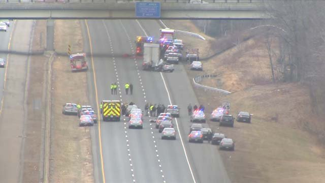 A state trooper was killed in a crash on I-84 in Tolland on Thursday (WFSB)