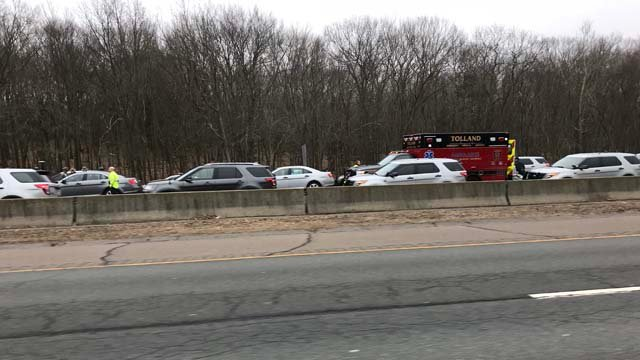 A trooper was killed in a crash on I-84 in Tolland on Thursday (WFSB)