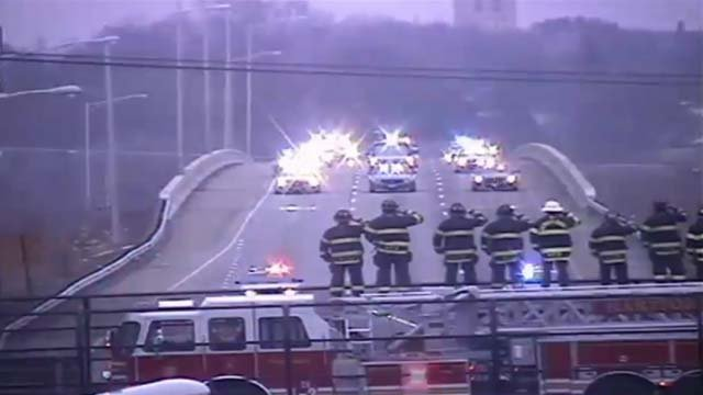 West Hartford firefighters saluted the procession from the deadly crash Thursday evening (CT DOT)