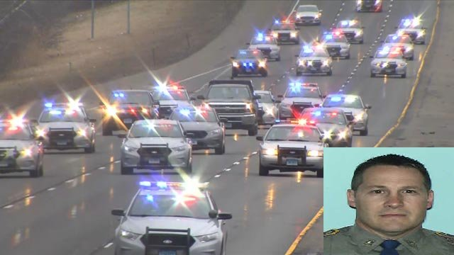 A procession of state police and other law enforcement members to honor Trooper First Class Kevin Miller. (WFSB/submitted)