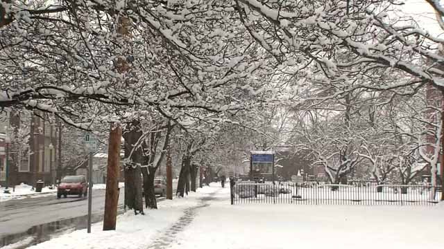 The New Haven area was blanketed with several inches of snow Monday morning (WFSB)