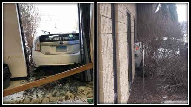 A student driver crashed a car into the Waterbury DMV on Tuesday (iwitness photos)