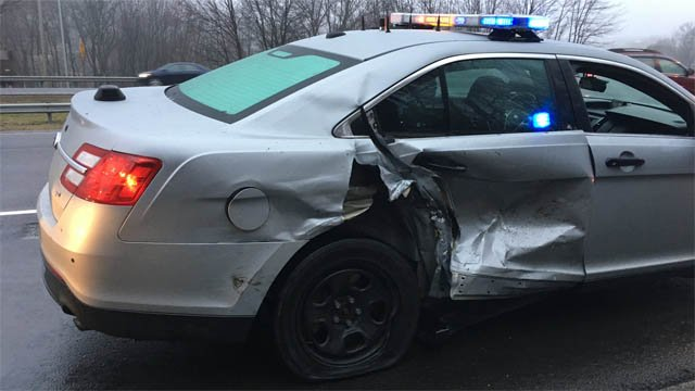 A CT State Police cruiser was involved in a crash on Wednesday morning (CT State Police)