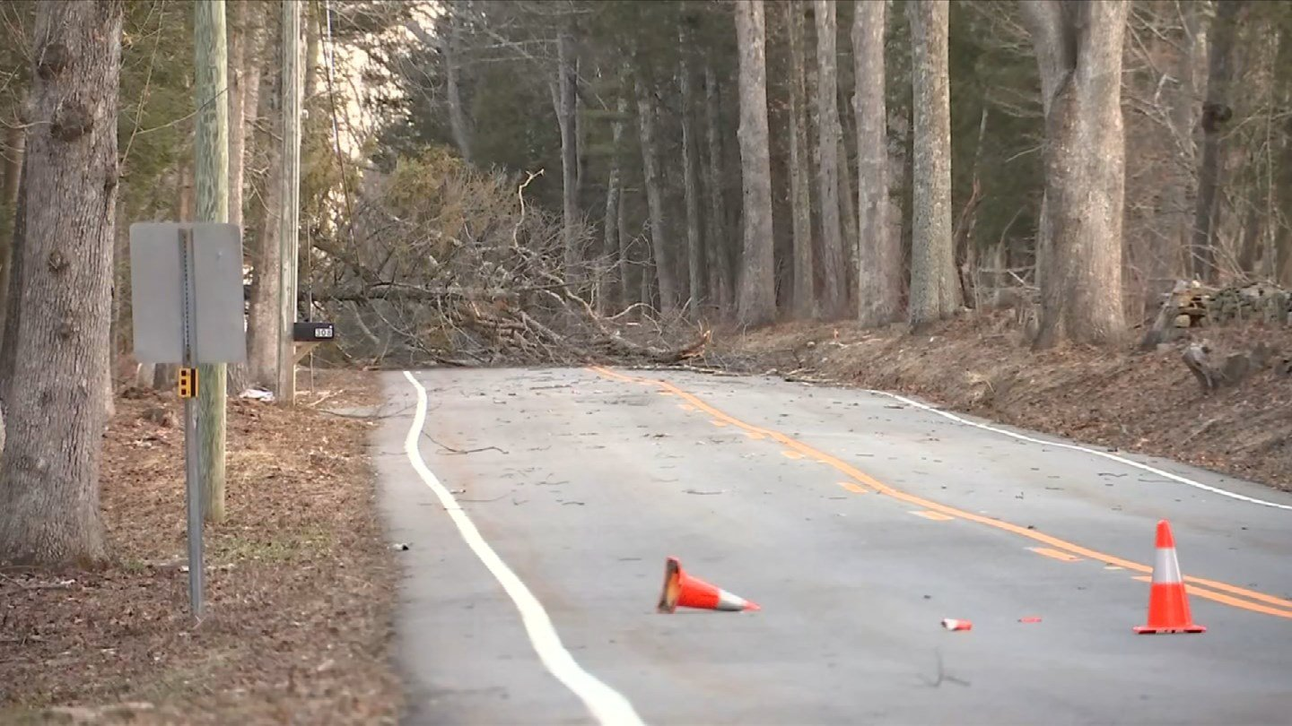 Route 171 was closed near Lawson Road in Union after a tree and wires were brought down by the weather. (WFSB)