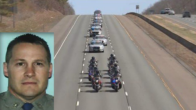A procession of state police honored Trooper First Class Kevin Miller ahead of calling hours. (WFSB/submitted)