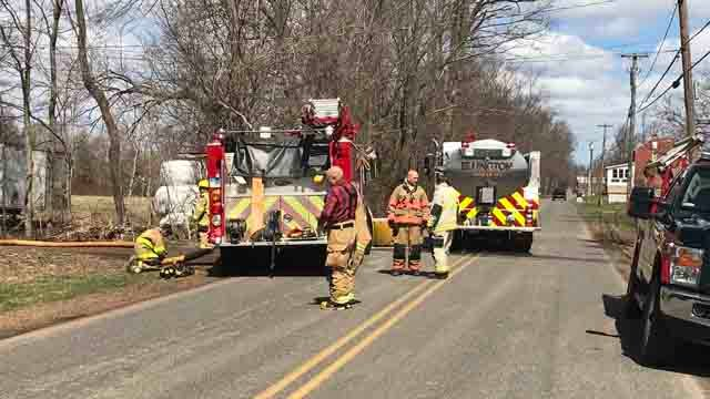 Crews worked to extinguish a barn fire in Ellington on Thursday (WFSB)