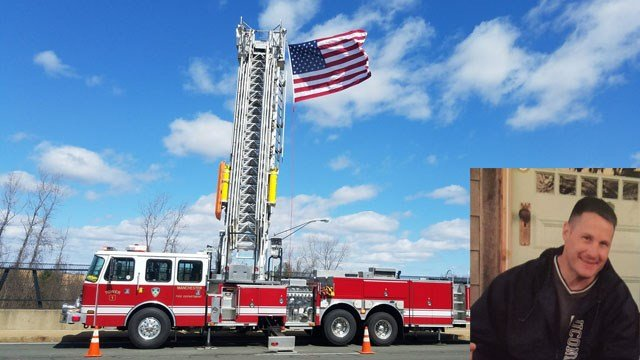 Manchester firefighters honored fallen State Trooper First Class Miller as the procession traveled to East Harford (Manchester firefighters/family photo)