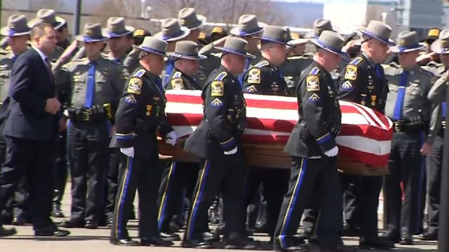 State Police First Class Trooper Kevin Miller's wake and funeral are being held at Rentschler Field (WFSB)