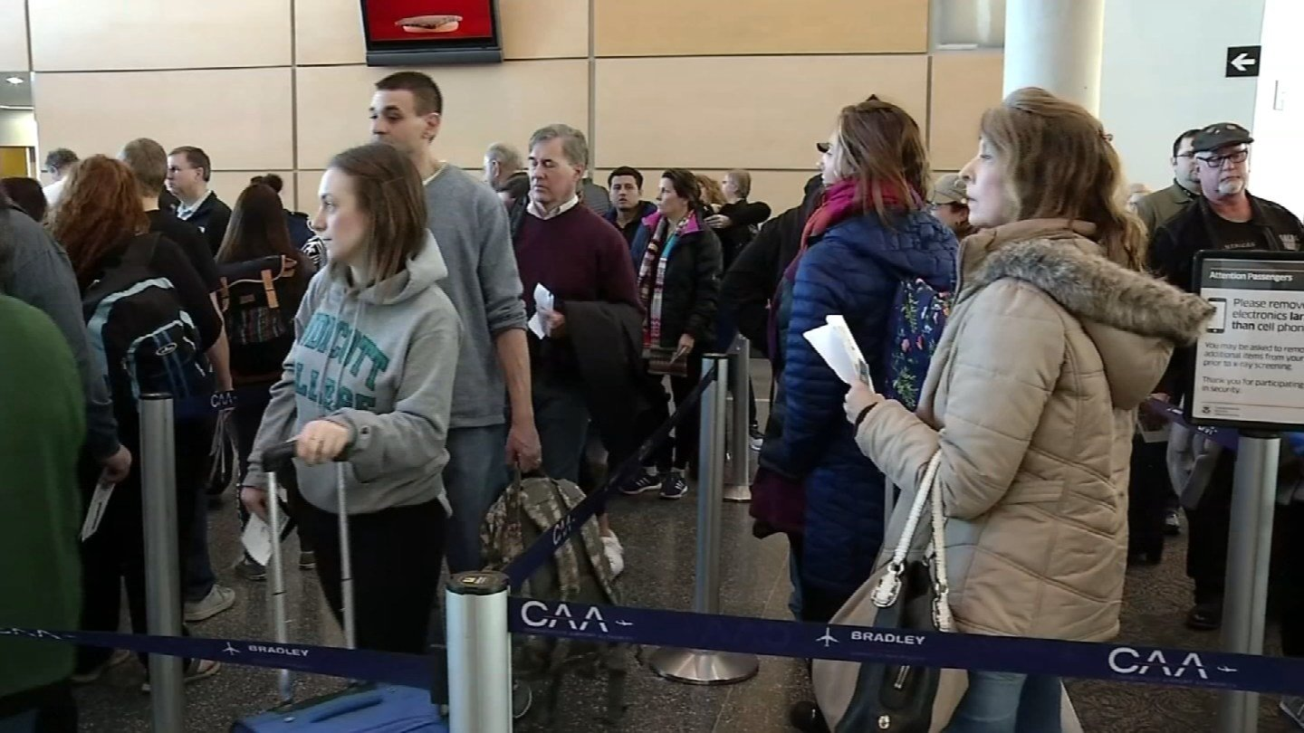 Bradley International Airport is expected to be packed with spring break passengers through April 15. (WFSB)