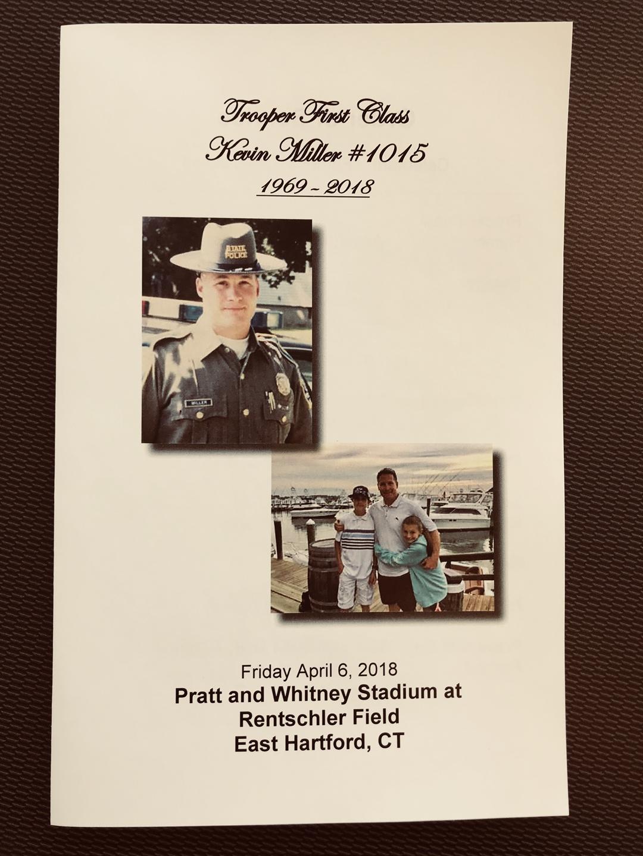 The funeral program for TFC Kevin Miller. (WFSB)