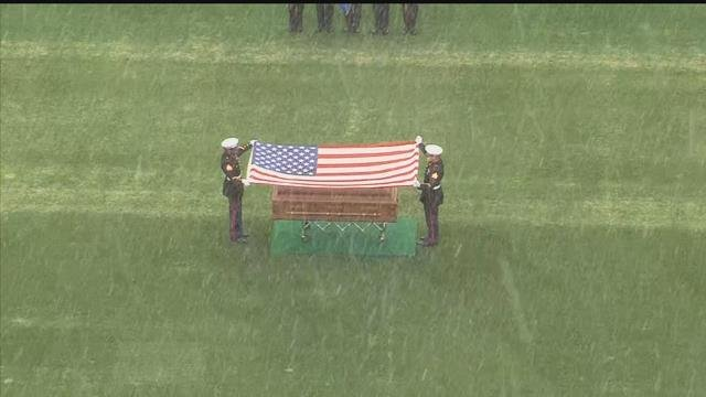 TFC Kevin Miller's casket was brought out onto Rentschler Field for an outdoor ceremony. (WFSB)