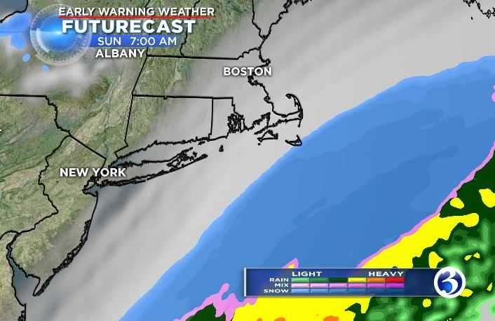 Precipitation will move southeast of New England (WFSB)