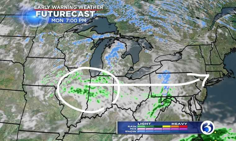 April rain showers are moving towards Connecticut (WFSB)