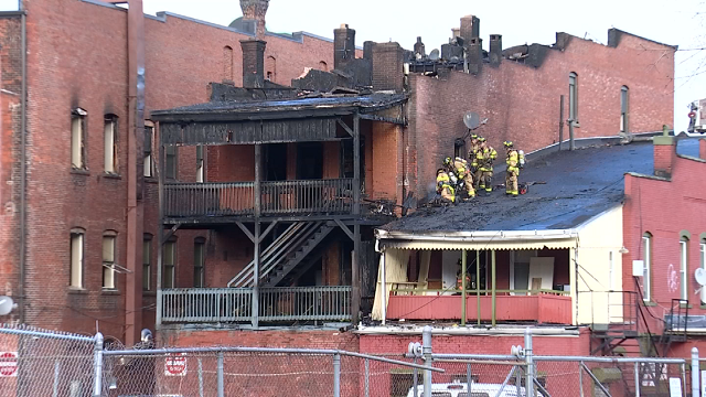 Crews battled a large fire in New Britain on Sunday afternoon. (WFSB)