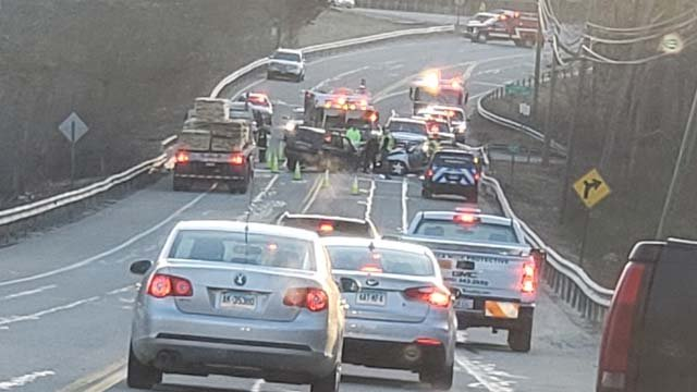A crash closed Route 6 in Hampton on Monday morning. (Karen/iWitness photo)