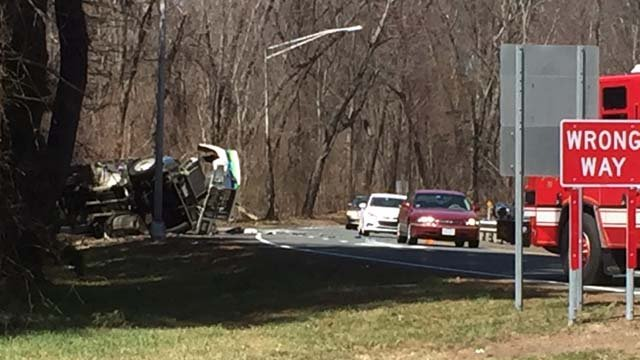 A gas tanker rolled over on I-91 south in Enfield (WFSB)
