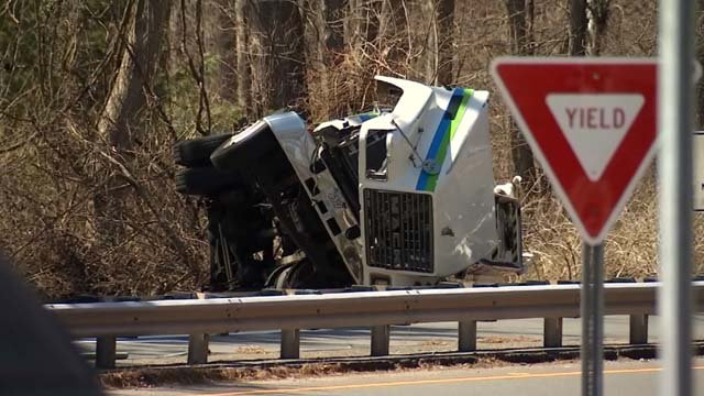 A gas tanker rolled over on an I-91 off ramp in Enfield (WFSB)