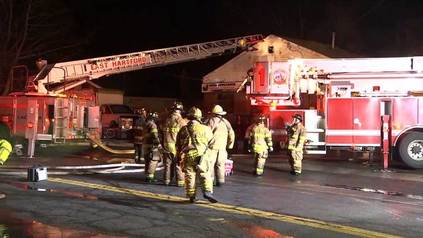 A used appliance store in East Hartford went up in flames early Wednesday morning. (WFSB)