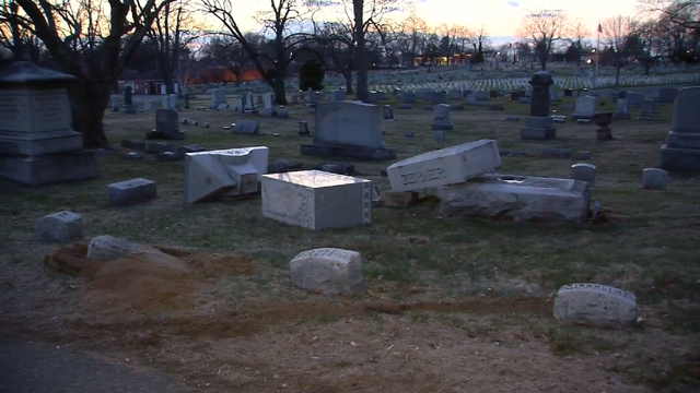 East Cemetery in Manchester was vandalized on Wednesday (WFSB)