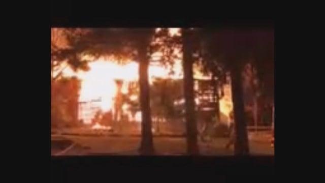 Firefighters are battled a barn fire on Scofield Hill Road in Washington. (iWitness)