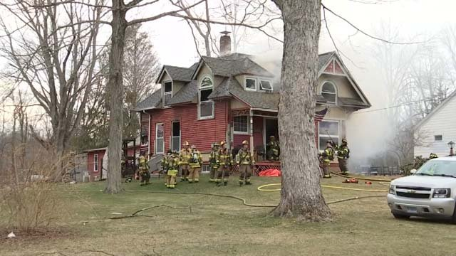 Crews from multiple towns battled a house fire in East Hampton (WFSB)