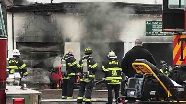 Firefighters battled a fire at J.C. Recycling in Meriden on Friday morning. (WFSB)