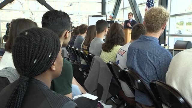 Meriden students hold town hall forum with Senator Blumenthal to discuss gun control (WFSB Photo)