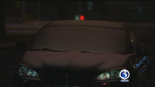 Sleet accumulated in Hartford on Monday morning. (WFSB)