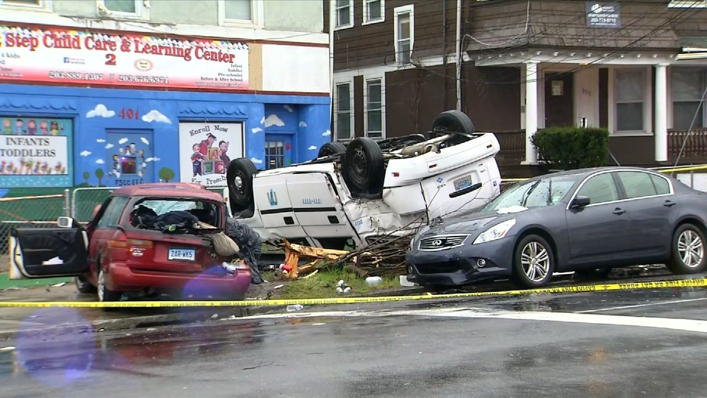Police are investigating a rollover crash on Sherman Avenue in New Haven Monday morning. (WFSB)