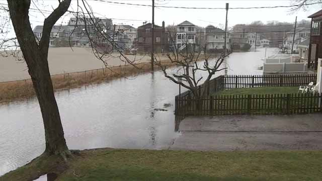 Flooding along Bayview Beach in Milford on Monday (WFSB)
