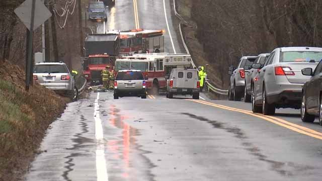 Route 32 in Mansfield was closed on Monday for a serious crash (WFSB)