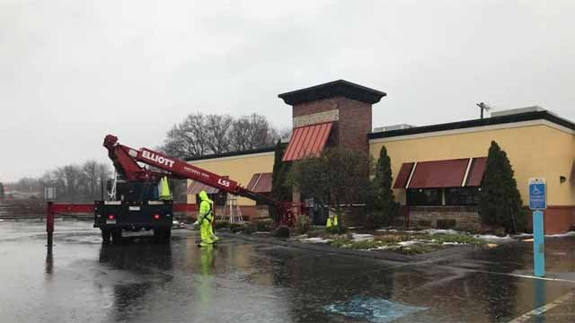 The sign came down at the Southington Bertucci's on Monday (WFSB)